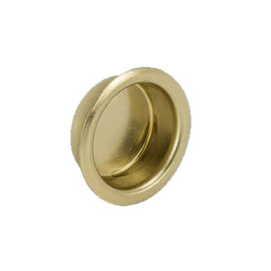 112 Round Brass Plated Flush Pull