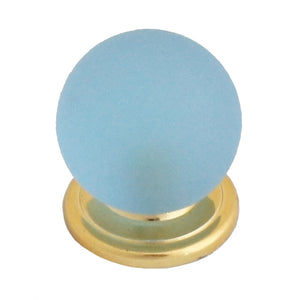 303 Blue Round Knob with Brass Base