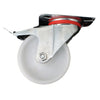 Plate Type With Hood and Double Brake White Nylon Caster