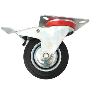 Plate Type With Hood and Double Brake Black Rubber Caster