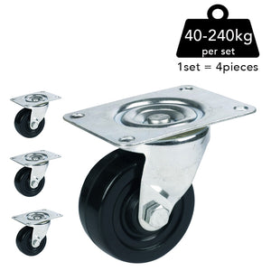 Plate Type Black Rubber Caster