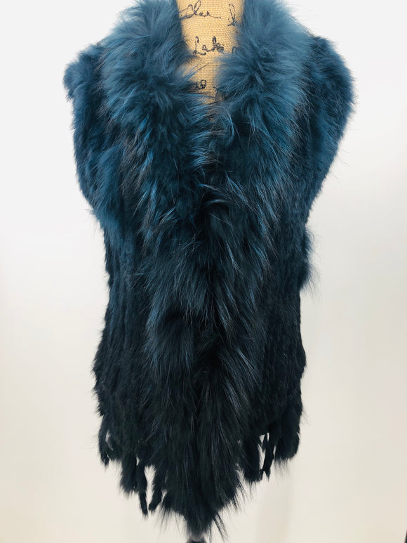 Ombre Fox & Rabbit Fur Vest