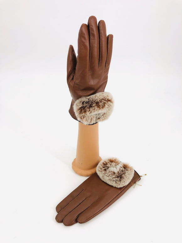 Rabbit Fur Leather Gloves - 2 Colors
