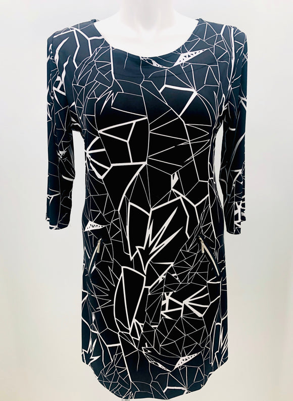 Black Broken Glass Pocket Dress