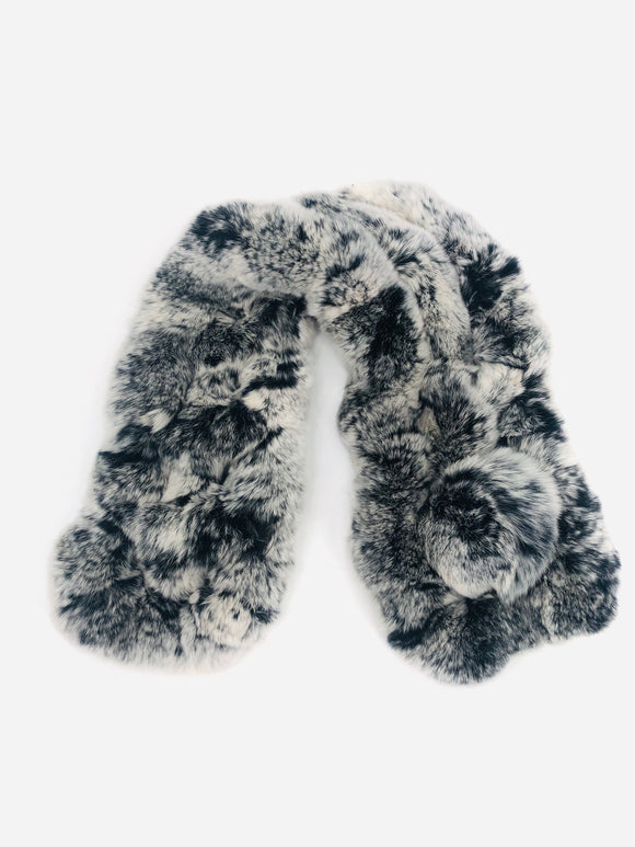 Black/White/Grey Rex Rabbit Ladder Scarf