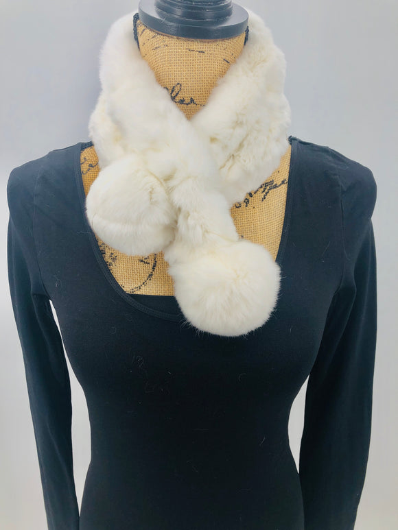 White Rex Rabbit Ladder Scarf