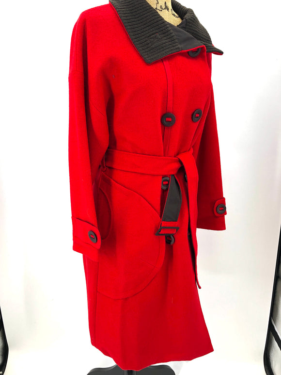8 Button Trench Holiday Red Coat
