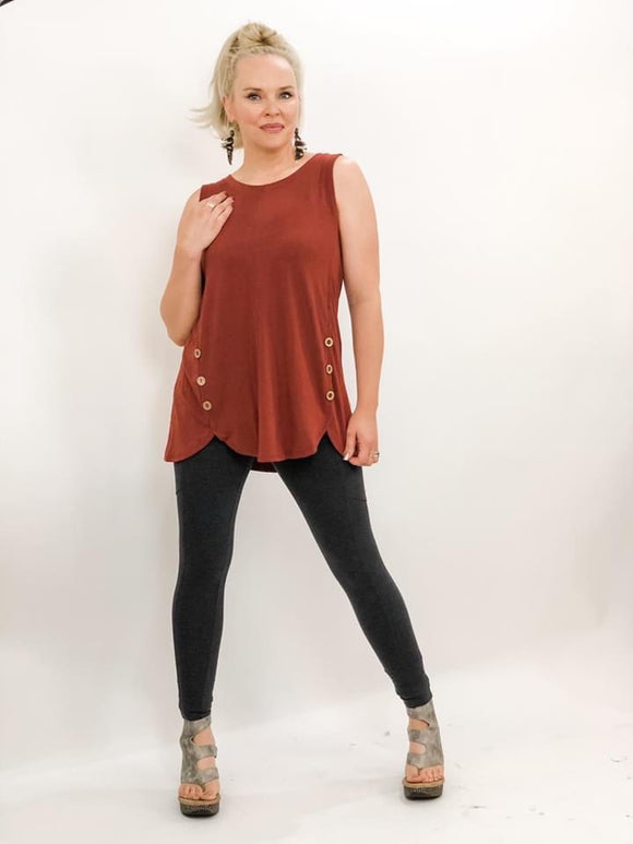 Sleeveless Button Tank - 5 Colors