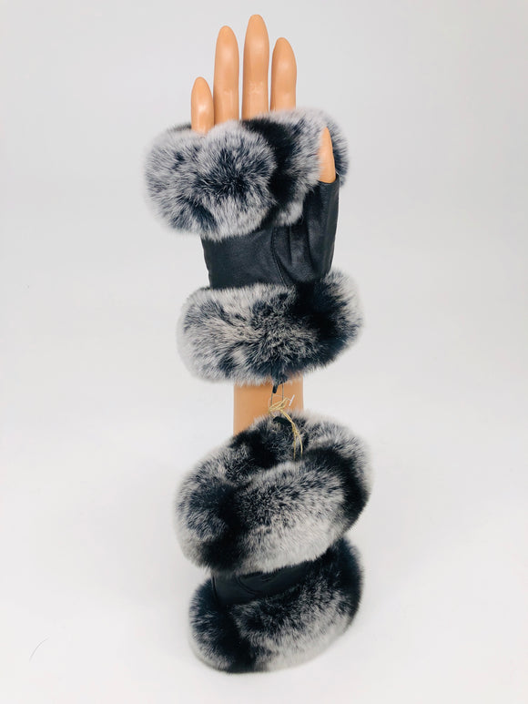 Fingerless Chinchilla/Leather Gloves
