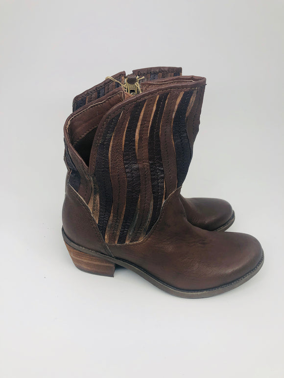 Leather Stripe Bootie