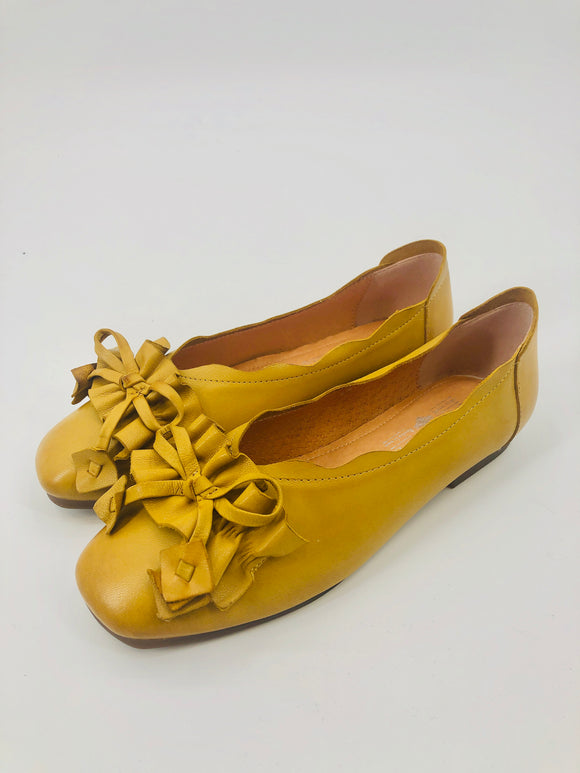 Mustard Yellow Leather Ballet Flat