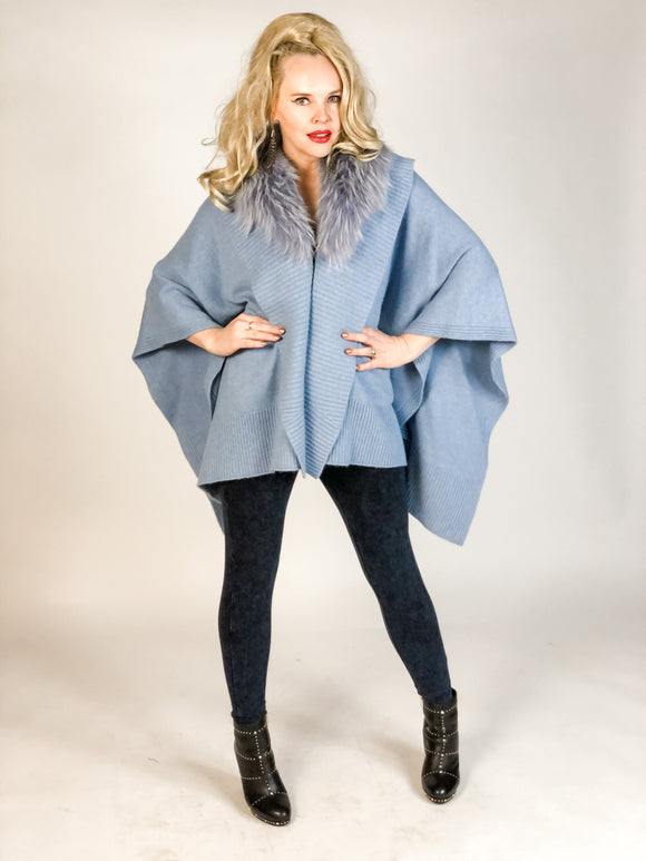 Premium Cashmere Cape with Fur Collar