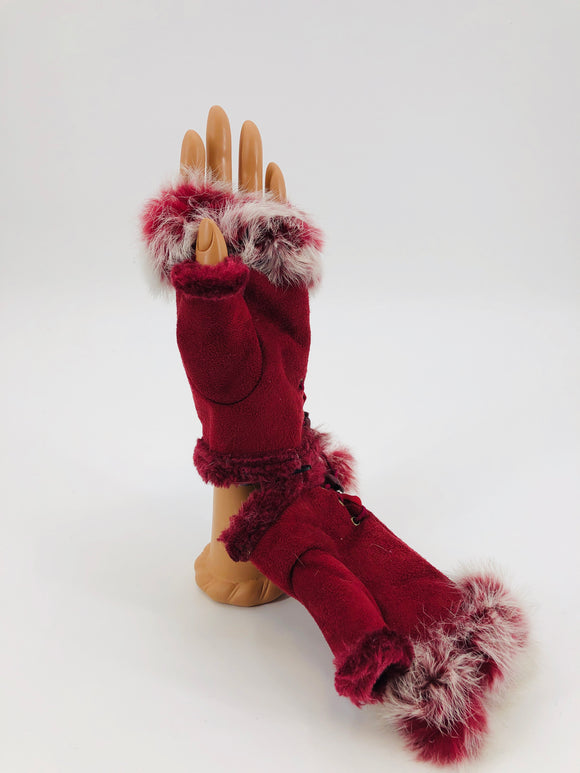 Genuine Rabbit Fingerless Gloves - Multiple Colors