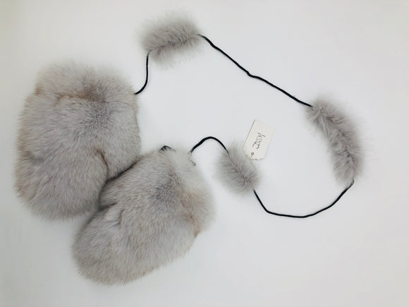 Fox Fur Mittens on String