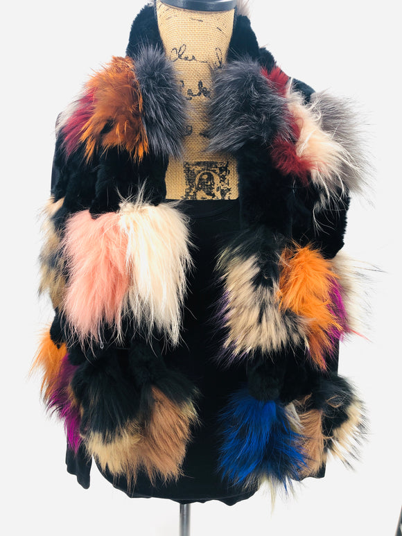 Multi-colored Fox Fur Ladder Scarf