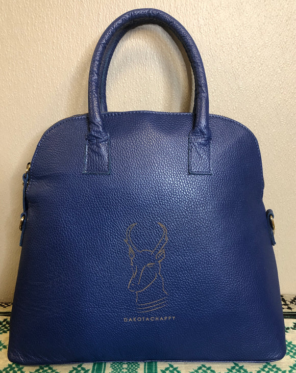 Blue Leather Zip-Top Purse