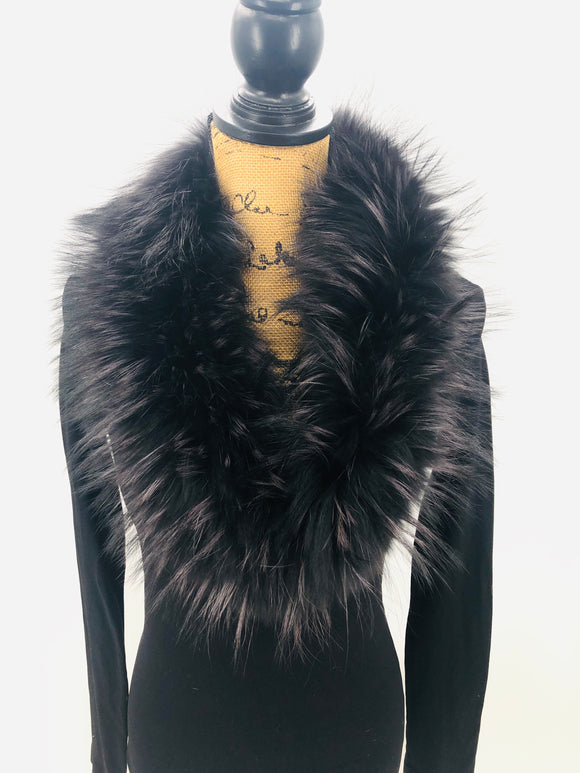 Full Black Fox Fur Collar - Small