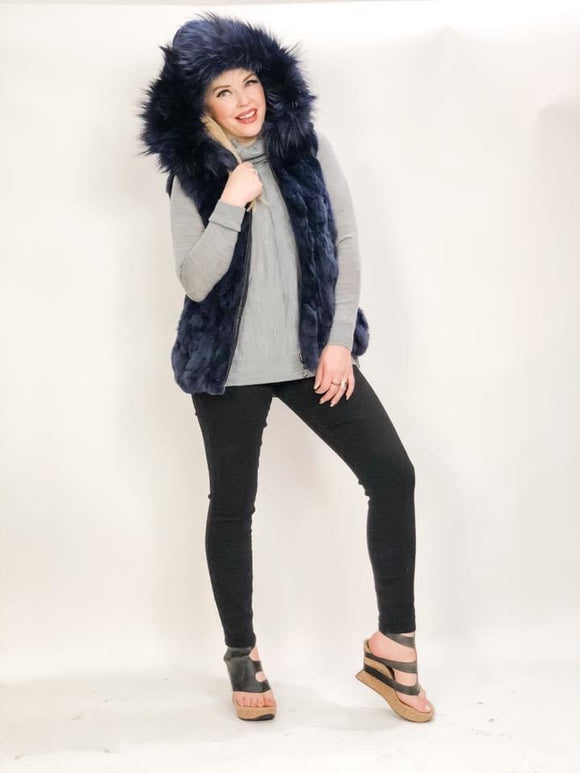 Navy Fox Fur Vest