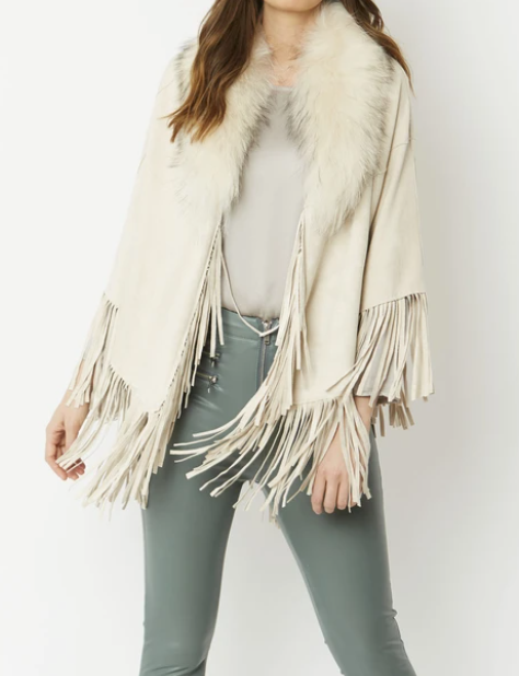 Suede Cape with Fox Fur Collar