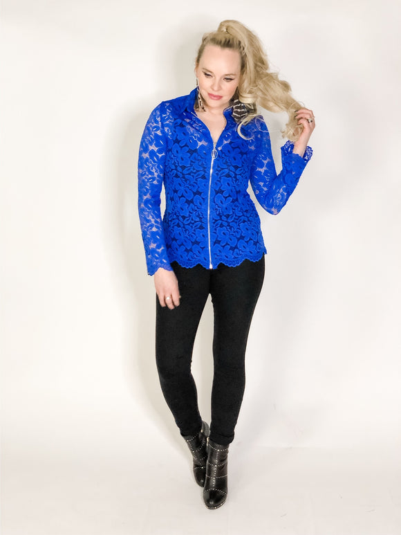 Blue lace zipper top with scallop edges
