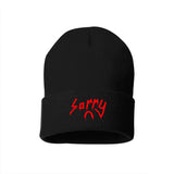 SORRY EMBROIDERED LOGO BEANIE (BLACK W/ RED LOGO)