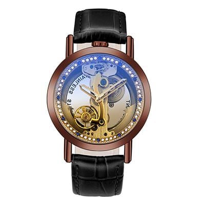 Montre mécanique Transparent Tourbillon bracelet en cuir