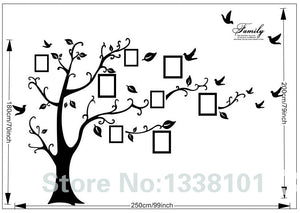Large 200*250Cm/79*99in Black 3D DIY Photo Tree PVC Wall Decals