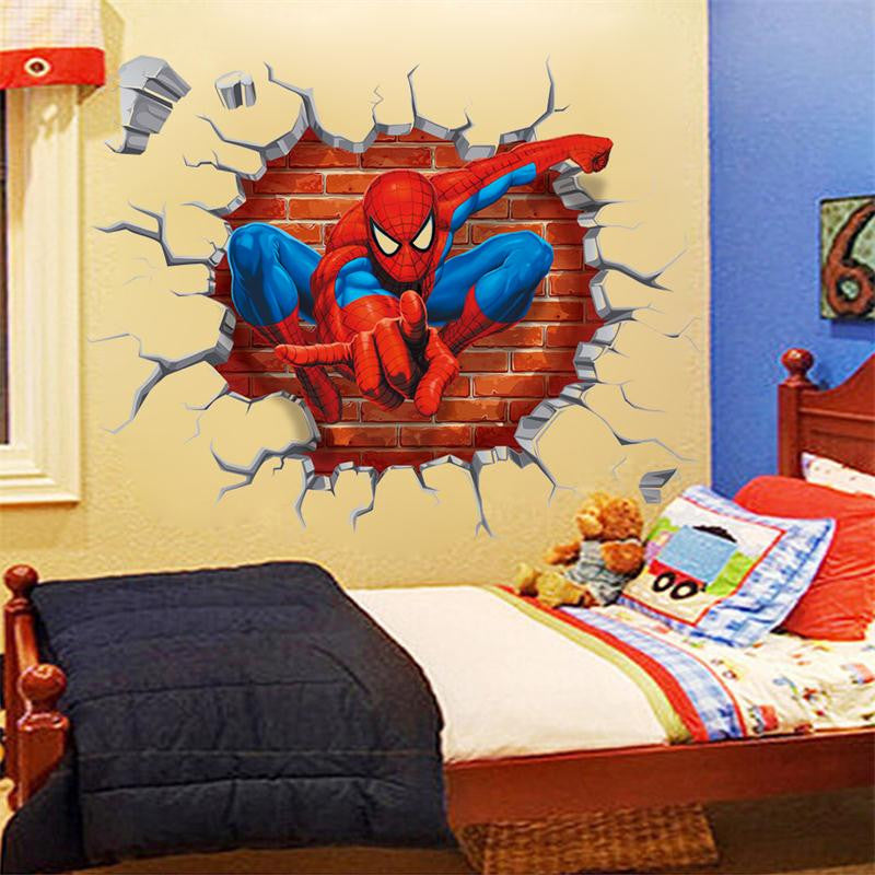 3d hole famous cartoon movie spiderman wall stickers for kids rooms