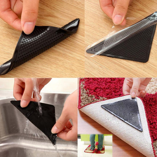 4 X Carpet Pad Non Slip Tri Sticker Anti Slip