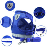 Adjustable Reflective Vest Walking Lead Leash for Puppy