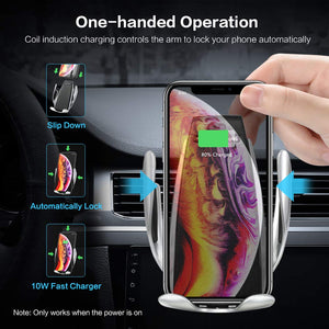 Quick Wireless Automatic Clamping Car Charger Mount Infrared Sensor