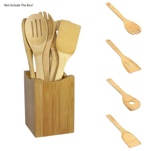 6PCS/lot Portable Cookwear Bamboo Wooden Utensil Kitchen Cooking Spoon