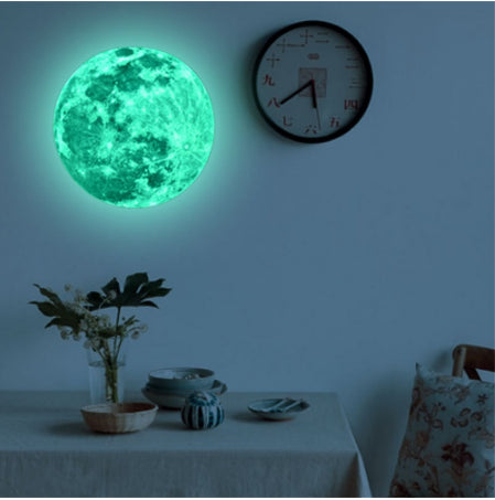 3D Wall Stickers For Kids Rooms Blue Light Moon Earth