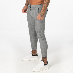 PLAID TROUSERS LIGHT GREY