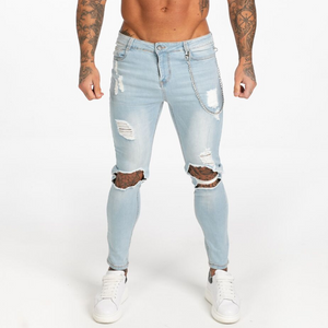 RIPPED SKINNY JEANS LIGHT BLUE + CHAIN