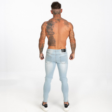 Load image into Gallery viewer, RIPPED SKINNY JEANS LIGHT BLUE + CHAIN