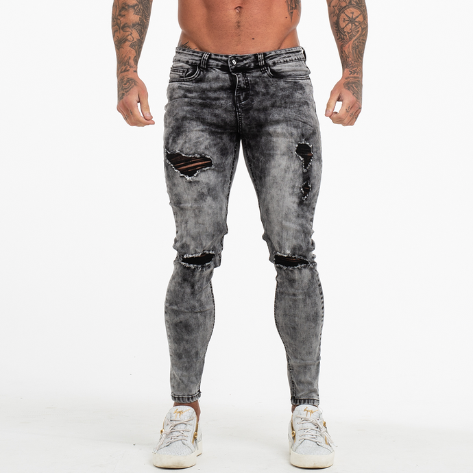 RIPPED SKINNY JEANS GREY WORN