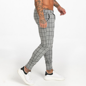 LUXE CHECK TROUSERS LIGHT GREY