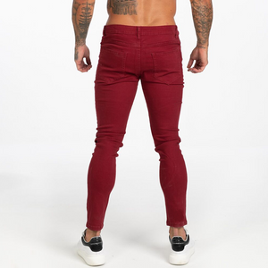 BASIC COLOR SKINNY JEANS BURGUNDY