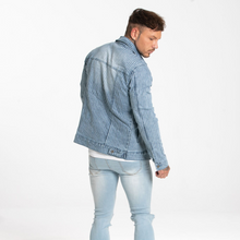 Load image into Gallery viewer, DENIM JACKET IN BLUE WITH STRIPE WHITE