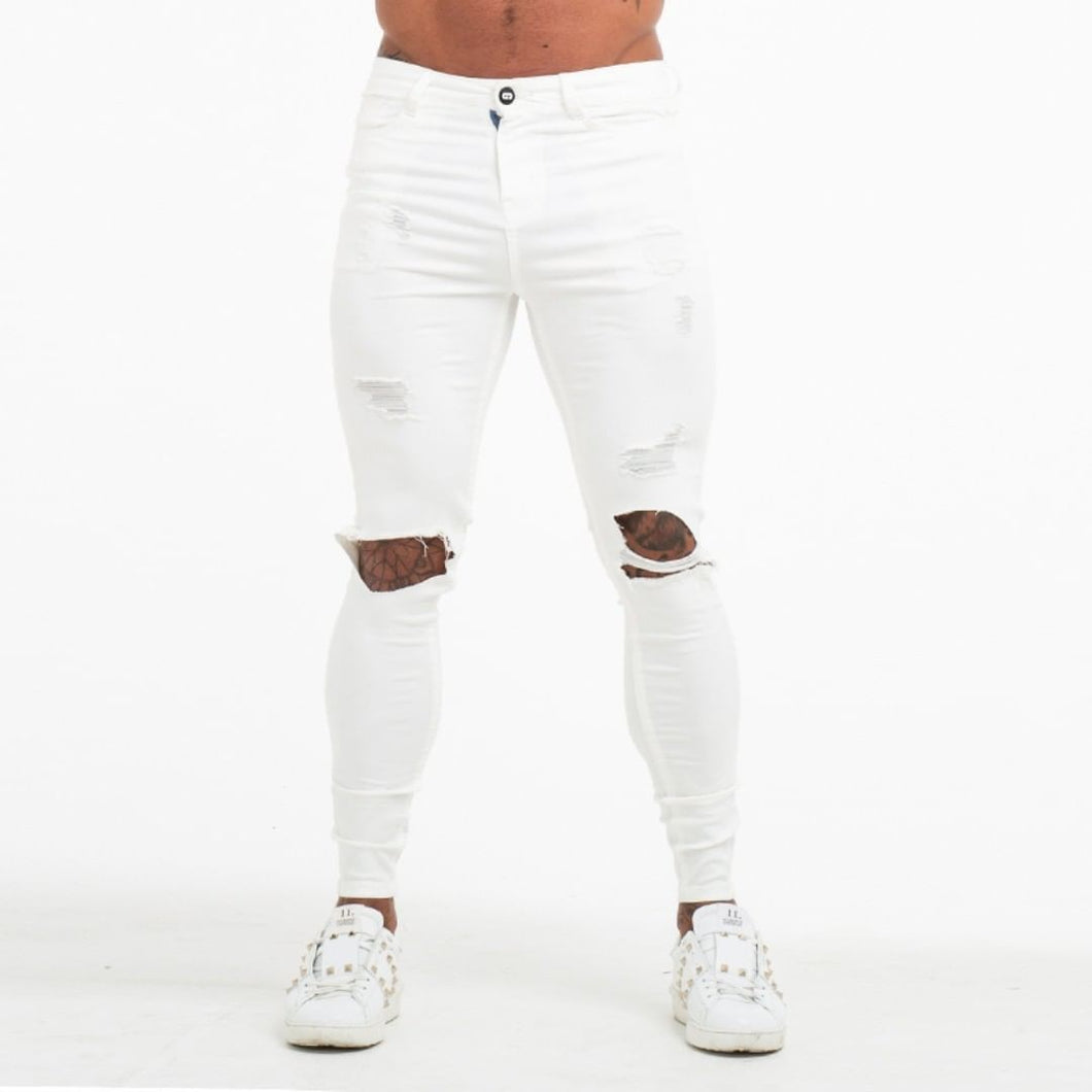 DESTROYED SKINNY JEANS WHITE