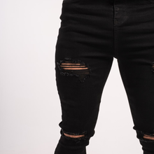 Load image into Gallery viewer, RIPPED SKINNY JEANS BLACK