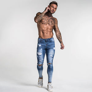 RIPPED SKINNY JEANS MID-BLUE