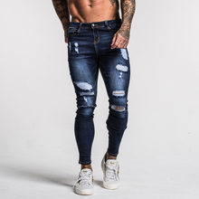 Load image into Gallery viewer, RIPPED SKINNY JEANS DARK BLUE