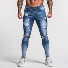 Load image into Gallery viewer, RIPPED SKINNY JEANS MID-BLUE