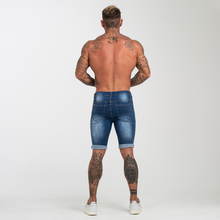 Load image into Gallery viewer, RIPPED SKINNY SHORTS DARK BLUE