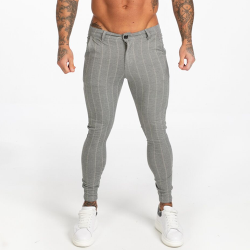 STRIPED TROUSERS LIGHT GREY