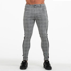 PLAID SKINNY TROUSERS GREY - Kakahu Store