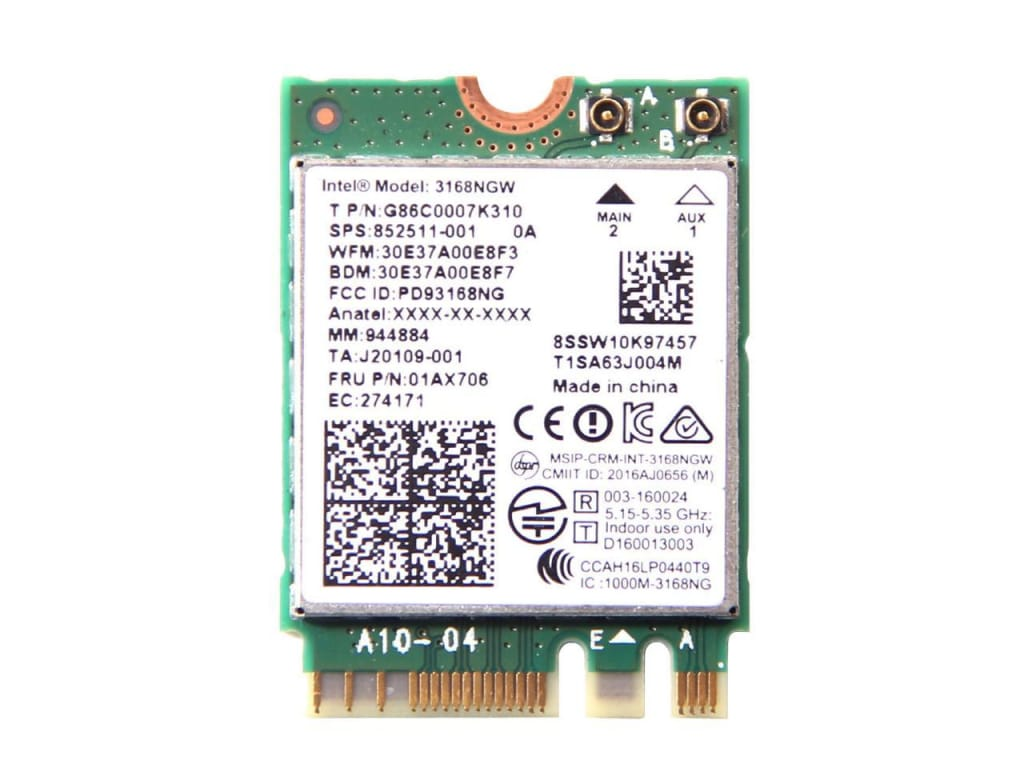 Intel 3168NGW IEEE 802.11ac Bluetooth 4.2 WiFi Bluetooth Combo Adapter M.2 433 Mbit/s