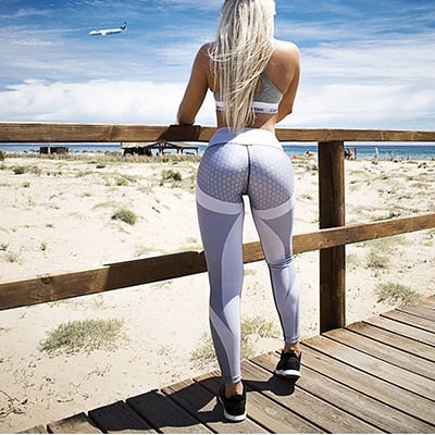 Hayoha Mesh Pattern Print Leggings fitness Leggings For Women Sporting Workout Leggins Elastic Slim Black White Pants